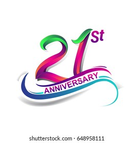 21st anniversary celebration logotype green and red colored. twenty one years birthday logo on white background.