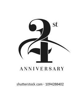 21st Anniversary Celebration simple monogram Design. pictogram vector icon, simple years birthday logo label, black and white stamp isolated