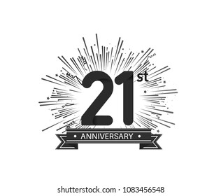 21st anniversary design with firework and ribbon black color for use company celebration