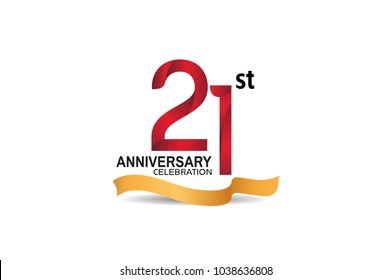 21st anniversary design logotype red color and golden ribbon for celebration isolated on white background
