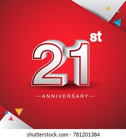 21st anniversary design with white number  on red background and confetti for celebration