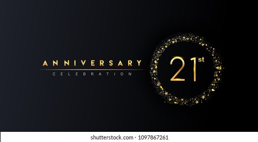 21st anniversary logo with confetti and golden glitter ring isolated on black background, vector design for greeting card and invitation card.