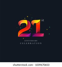 21st Anniversary Logo Design, Number 21 Icon Vector Template.