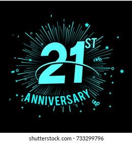 21st anniversary logo with firework background. glow in the dark design concept