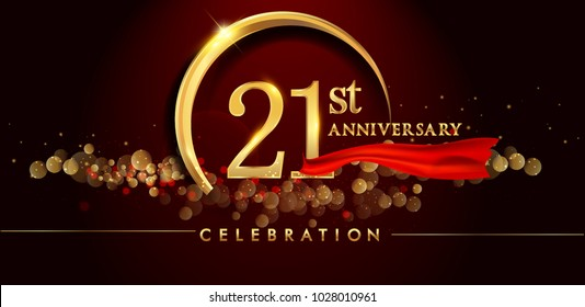 21st anniversary logo with golden ring, confetti and red ribbon isolated on elegant black background, sparkle, vector design for greeting card and invitation card