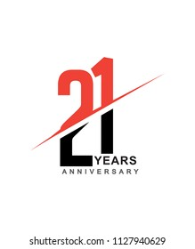 21st anniversary logo red and black swoosh design isolated on white background for anniversary celebration.