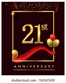 21st anniversary logo with red ribbon  and confetti golden colored isolated on elegant background, vector design for greeting card and invitation card