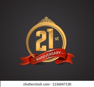 21st anniversary logotype style design luxury  golden color and ornament with warp red ribbon for company celebration event