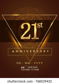 21st anniversary poster design on golden and elegant background, vector design for anniversary celebration, greeting card and invitation card.