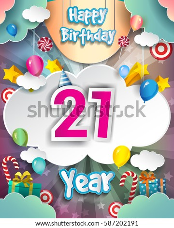 21st Birthday Celebration Greeting Card Design With Clouds And Balloons Vector Elements For The