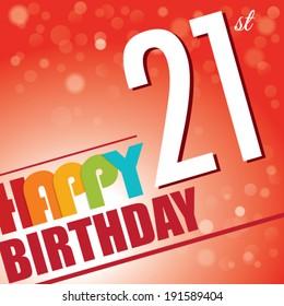 21st Birthday party invite/template design in bright and colourful retro style - Vector