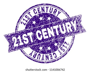 21ST CENTURY stamp seal imprint with distress texture. Designed with ribbon and circles. Violet vector rubber print of 21ST CENTURY text with dust texture.