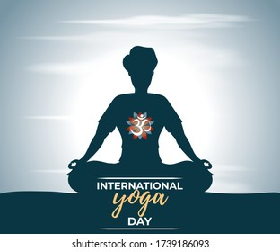 21st june, vector illustration for international yoga day with Hindi text om means om,man silhouette