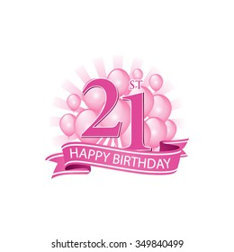 21st pink happy birthday logo with balloons and burst of light