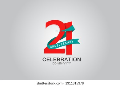 21st years anniversary blue ribbon celebration logotype. anniversary logo with Red text and Spark light white color isolated on black background, design for celebration, invitation - vector