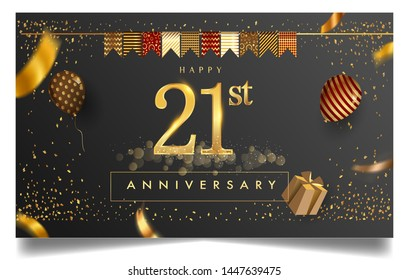 21st years anniversary design for greeting cards and invitation, with balloon, confetti and gift box, elegant design with gold and dark color, design template for birthday celebration.