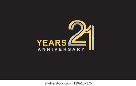 21st years anniversary logo design with multiple line silver and golden color, for celebration event isolated on black background, vector illustration.