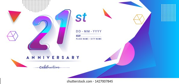 21st years anniversary logo, vector design birthday celebration with colorful geometric background and circles shape.