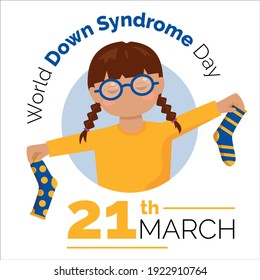 21th march. Illustration World Down Syndrome Day. Girl with different socks. Vector