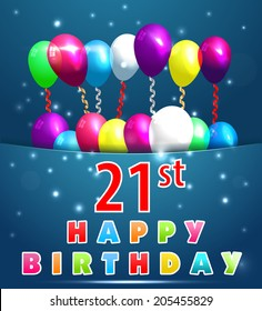 21year Happy Birthday Card with balloons and ribbons, 21st birthday - vector EPS10