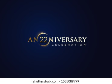 22 Anniversary celebration with gold simple text and luxury design on blue background. anniversary logo design. unique anniversary logo design