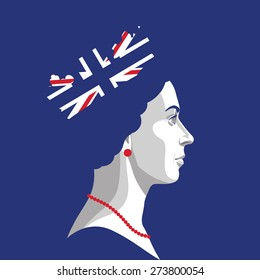 22 April 2015: vector illustration, portrait of Queen Elizabeth II, with rightly colors of British Flag