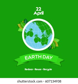 22 april International Earth Day design.  Vector illustration