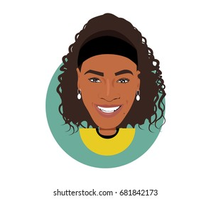 22 July 2017, Serena Williams flat vector portrait
