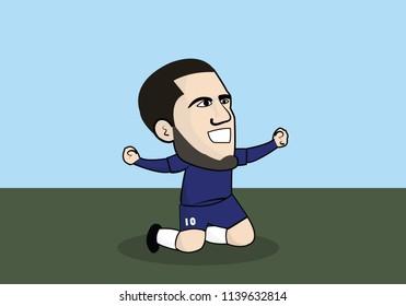 22 July 2018,Lamphun Thailand : Eden Hazard (Eden Michael Hazard ) is a Belgian professional footballer who plays for English club Chelsea and the Belgium national team, Vector Design
