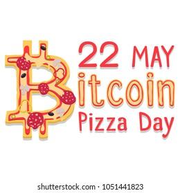 22 May. Bitcoin Pizza Day. Flat Poster.