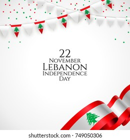 22 november. Lebanon Happy independence Day greeting card. Waving lebanese flag and balloon with confetti, ribbon isolated on white background. Patriotic Symbolic background. Vector illustration.