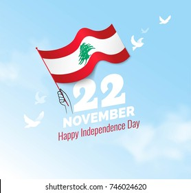 22 November. Lebanon Independence Day greeting card.   Celebration background with  waving flag and blue sky. Vector illustration