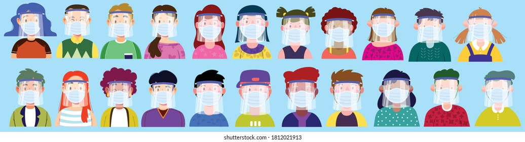 22 people from different parts of the world during the Corona virus of different ages and with different color of body - Shutterstock ID 1812021913