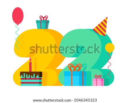 22 year birthday sign 22 th template stock vector royalty free