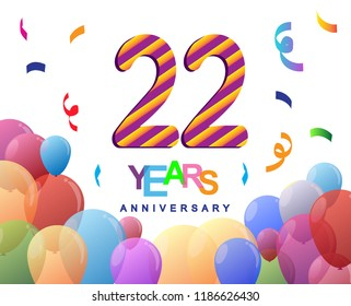 22 Years Anniversary Celebration With Colorful Balloons And Confetti Design For Greeting Card Birthday