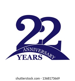 22 years anniversary, flat simple design, logo