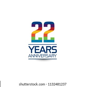 22 years anniversary rainbow color style simple design with white background for company celebration event