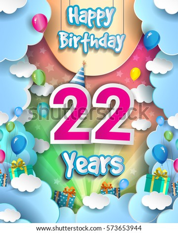 22 Years Birthday Celebration Design For Greeting Cards And Poster With Clouds Gift Box