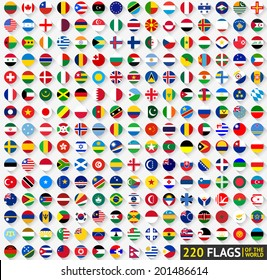 220 Flags of the world, circular shape, flat vector illustration