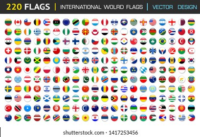 220 international Flag set in Circle , vector Design Elemant illustration