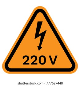 220 VOLT warning sign in yellow triangle. Vector icon.