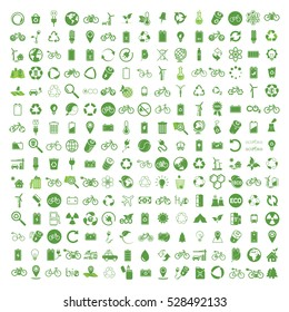 225 ecology & nature green icons set on white background. Vector illustration of Eco, natural, bio