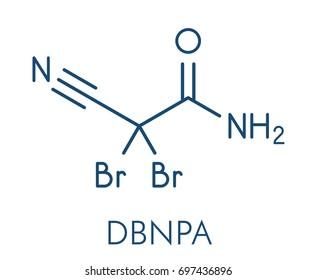 2,2-dibromo-3-nitrilopropionamide (DBNPA) biocide molecule. Skeletal formula.