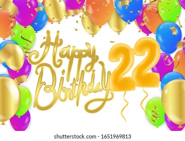 22th Birthday party balloons and decoration background
