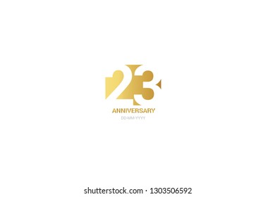 23 anniversary, minimalist logo. 23  jubilee, greeting card. Birthday invitation. 23 year sign. Gold space vector illustration on white background - Vector