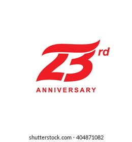 23 anniversary wave logo red