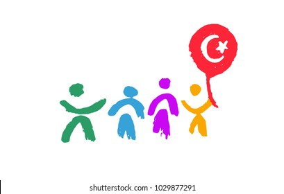 23 april National Sovereignty and Children's Day in Turkey. Vector illustration
