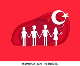 23 april National Sovereignty and Children's Day in Turkey  in the style of cut paper. Vector illustration