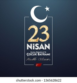 23 April, National Sovereignty and Children's Day (23 nisan ulusal egemenlik ve cocuk bayrami) vector illustration to share on social media