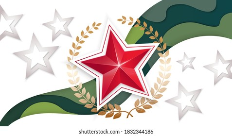 23 February background. The red star with a laurel wreath on a camouflage ribbon.